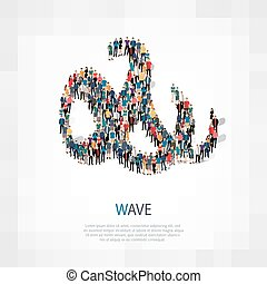 wave people sign 3d - Isometric set of styles, wave , web...