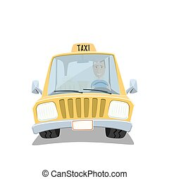 Yellow cartoon taxi car - Yellow cartoon taxi car with...
