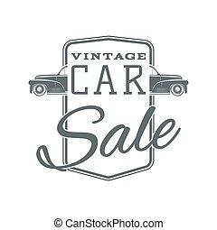 Vintage, classic car sale label template - Vintage classic...