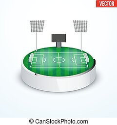 Concept of miniature round tabletop football stadium -...