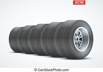 Row of Car tires at warehouse