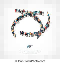 art people sign 3d - Isometric set of styles, art , web...