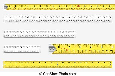 Rulers And Tape Measures - Rulers and tape measures with...