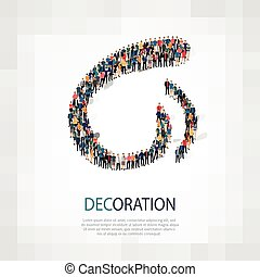 decoration people sign 3d - Large group of people in the...