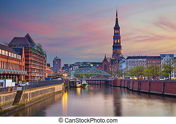 Hamburg. - Image of Hamburg- Speicherstadt during beautiful...