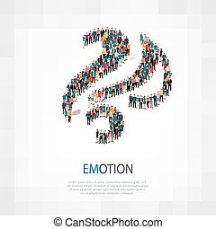 emotion people sign 3d - Isometric set of styles, emotion ,...