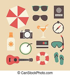 summer travel equipment - set of beach and travel icon,...