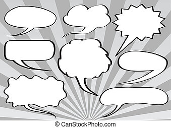 Text bubbles - Eight text bubble template set isolated over...