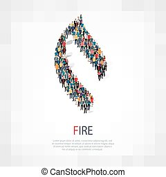 fire people sign 3d - Isometric set of styles, fire , web...