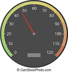 Speedometer or tachometer with arrow. Colorful vector...