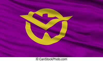 Okayama Prefecture Close Up Flag - Flag of Okayama...