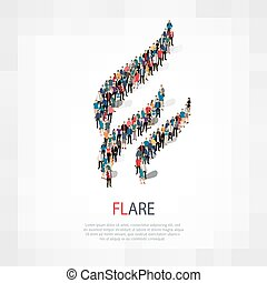 flare people sign 3d - Isometric set of styles, flare , web...