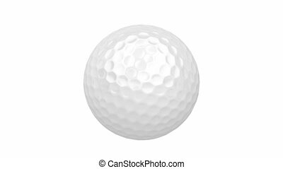 Golf ball spin on white background