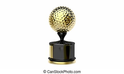 Gold trophy with golf ball, spin on white background