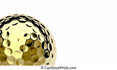 Golden golf ball spins on white background