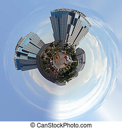 Planet of Building on main street in central Jakarta -...