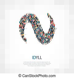 idyll people sign 3d - Isometric set of styles, idyll people...