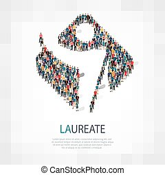 laureate people sign - Large group of people in the shape of...