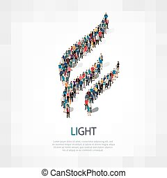 light people sign 3d - Isometric set of styles, light, web...