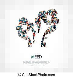 meed people sign 3d - Large group of people in the shape of...