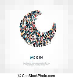 moon people sign 3d - Isometric set of styles, moon , people...