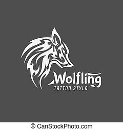 Wolfling Tattoo style Vector Mark of contemporary Design Logos Qualitatively Animal illustrations