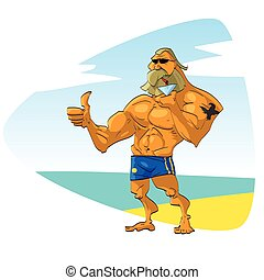 Muscular guy on the beach - Muscular bearded guy with...