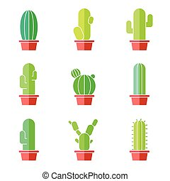 Cactus abstract flat colorful set