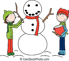 Happy Kids building a snowman - Cartoon illustration of a...