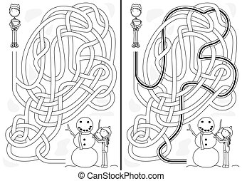 Snowman maze for kids with a solution in black and white