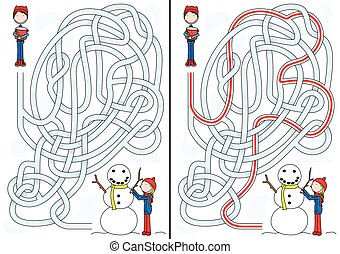 Snowman maze for kids with a solution