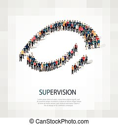 supervision people sign 3d - Large group of people in the...