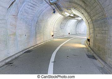 tunnel - Interior of an urban walkway tunnel road