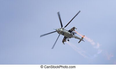 Mi-24 Hind helicopter in flight