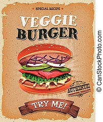 Grunge And Vintage Vegetarian Burger Poster