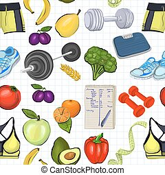 Pattern with images about healthy lifestyle - Pattern with...