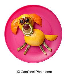 perro, en, placa, hecho, de, naranja, y, kiwi,