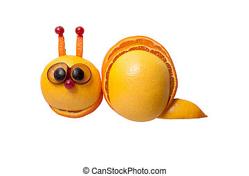 Funny snail made of orange, grape on isolated background