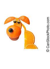 triste, Sentado, perro, hecho, de, naranjas, en, aislado,...