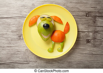 perro, hecho, de, jugoso, frutas, en, placa,