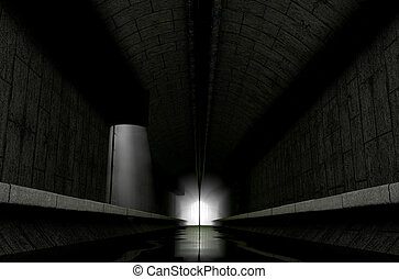 Underground Sewer - A 3D rendering of an underground sewage...