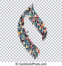 flame symbol people 3d - Isometric set of styles abstract ,...
