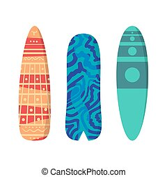 Vector flat set surfboards isolated on white background....