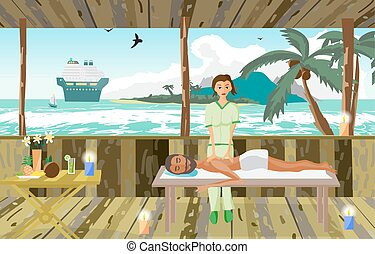 Vector illustration of man pampering herself by enjoying day...
