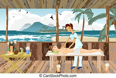 Vector illustration of woman pampering herself by enjoying...