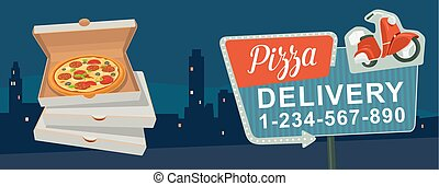 Retro night sign with an arrow. Billboard in retro style with lights.  Delivery pizza on red moped. Isolated vector flat illustration on city night background. For banner, poster, presentation