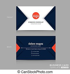 Abstract modern navy blue triangle Business card Design -...