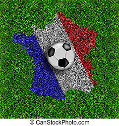France map  on green grass