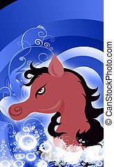 A horse - Illustration of a muscular horse with black hair...
