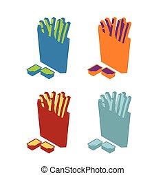 French fries flat sign. Icon fast food. Multicolored symbol...